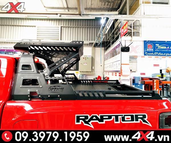 Ford Ranger Raptor màu đỏ độ đẹp, hầm hố với khung thể thao 4wd và nắp thùng cuộn