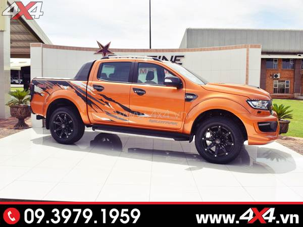 Tem dán xe bán tải - Xe Ford Ranger màu cam lên tem đơn giản đẹp và độc