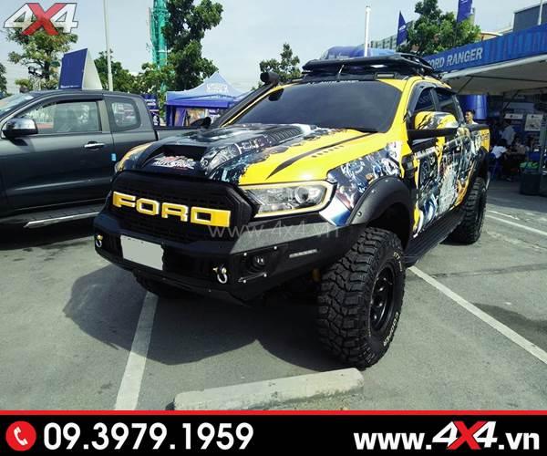 Tem dán xe bán tải - Xe bán tải Ford Ranger lên tem ngầu và nổi bật với màu vàng chủ đạo