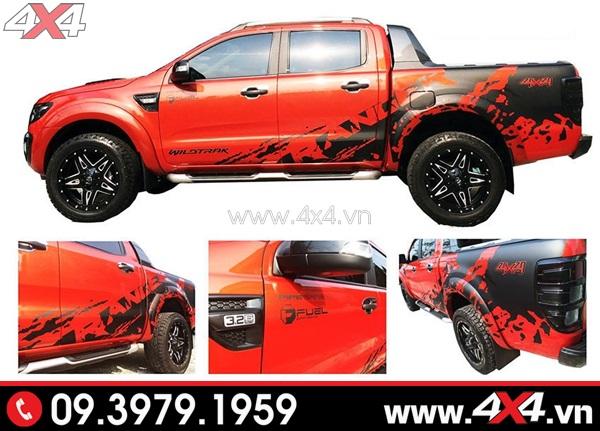 Tem dán xe bán tải - Tem dán màu đen ngầu và đẹp dành cho xe bán tải màu đỏ