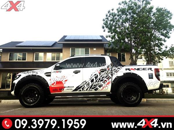 Tem dán xe bán tải - Tem xe bán tải màu đen đẹp và ngầu độ cho xe bán tải màu trắng