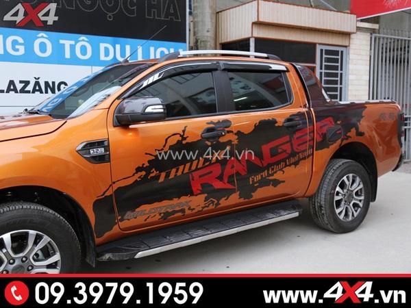Tem dán xe bán tải - Chiếc Ford Ranger màu cam với tem xe đẹp và ngầu