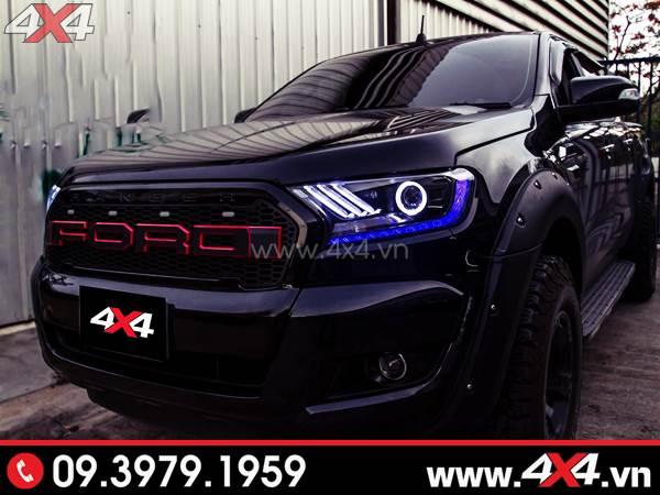 Chiếc Ford Ranger màu đen độ đèn cực ngầu và đẳng cấp