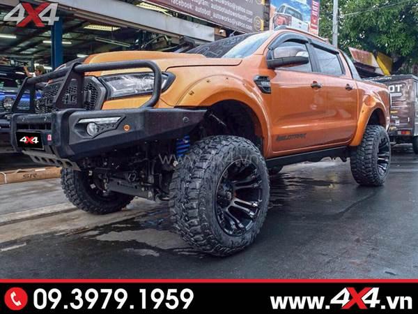 Mâm xe Ford Ranger - Chiếc Ford Ranger độ khủng và hầm hố với mâm Fuel Vapor, lốp, cản trước