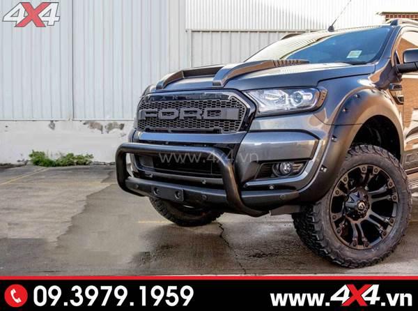 Mâm xe Ford Ranger - Xe Ford Ranger đen độ ngầu và chất với mâm Fuel Vapor, mặt calang, ốp cua lốp, cản chữ U