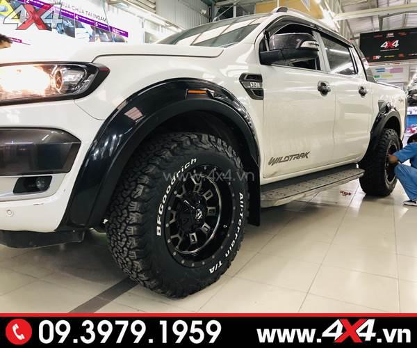 Lốp xe bán tải: Chiếc Ford Ranger màu trắng lên mâm lốp BF goodrich AT đẹp và đẳng cấp