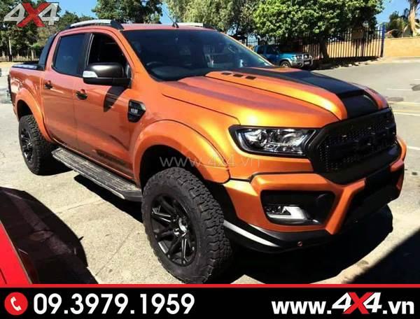 Ford Ranger độ đẹp, đơn giản với lốp AT (All-Terrain), mâm, ốp nắp capo, mặt nạ,...