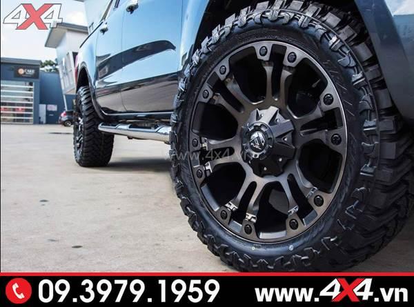 Mâm xe Ford Ranger độ: Mâm Fuel Vapor màu đen độ đẹp và cứng cáp cho xe bán tải