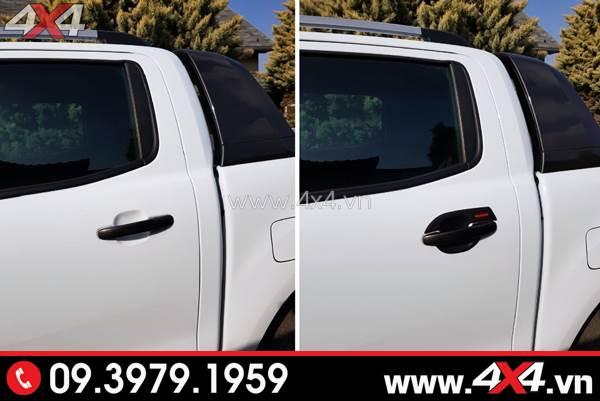 Xe Ford Ranger trước và sau khi gắn ốp chén cửa, ốp tay nắm