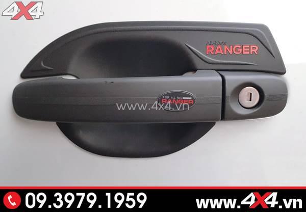 Ốp chén cửa, ốp tay nắm màu đen chữ đỏ gắn xe Ford Ranger