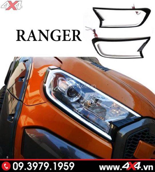 Ốp viền đèn trước có đèn gắn dành cho xe bán tải Ford Ranger