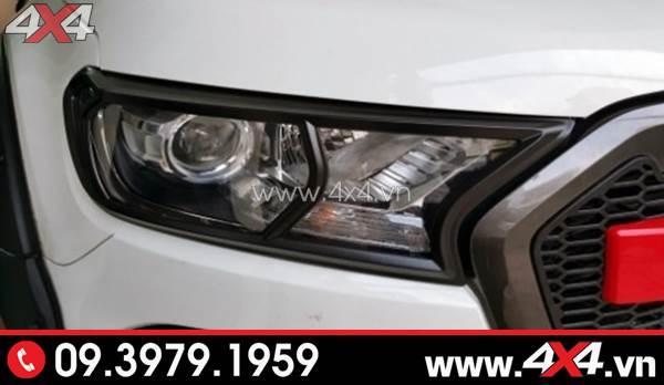 Ốp viền đèn màu đen gắn đẹp và ngầu cho xe Ford Ranger