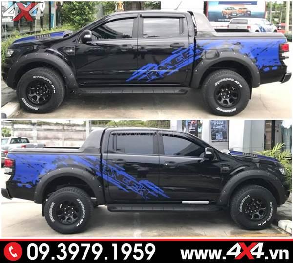 Tem dán xe Ford Ranger: Chiếc bán tải màu đen dán tem màu xanh đẹp và độc