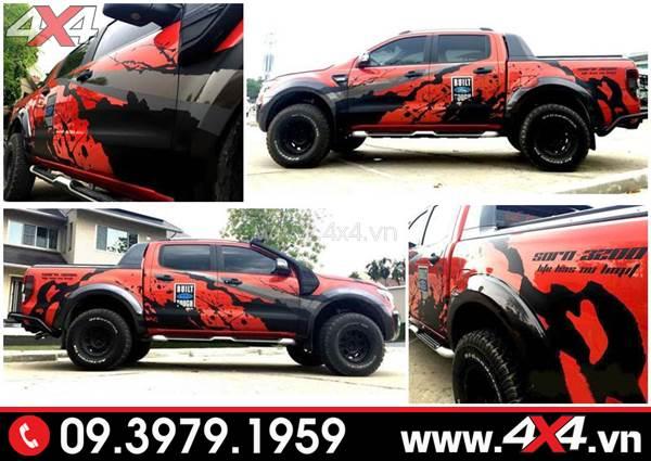 Tem dán xe Ford Ranger: Mẫu tem dán đẹp và chất dành cho xe bán tải màu đỏ