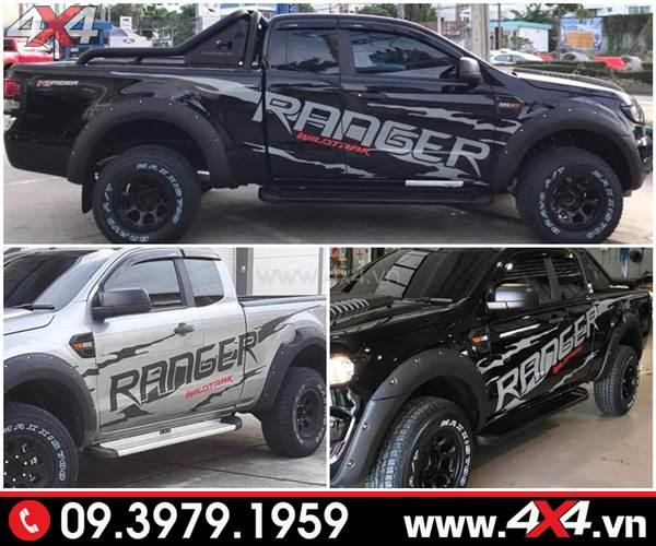 Tem dán xe Ford Ranger - Mẫu tem Ranger độ đẹp cho xe bán tải màu đen và bạc