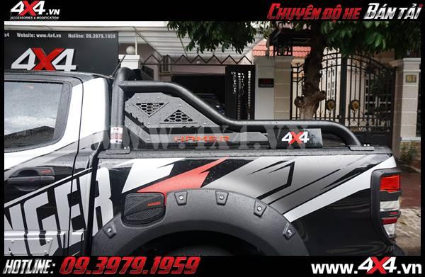 THanh thể thao Hamer và ốp nắp bình xăng màu đen theo tông màu của xe